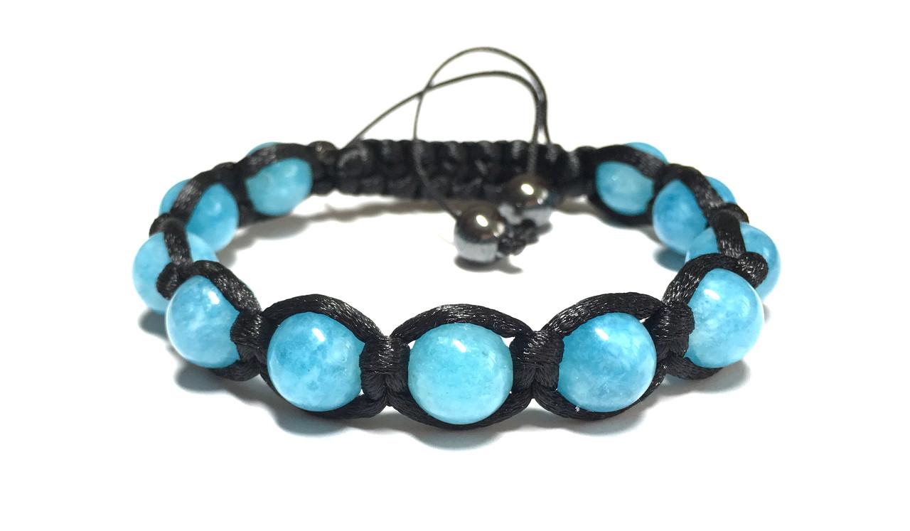 Браслет шамбала из натурального камня Аквамарин голубого цвета