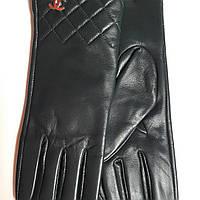 Женские кожаные перчатки Chanel зелёные