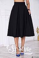 Черная юбка длина миди ( с боковыми карманами). Арт-01019/73