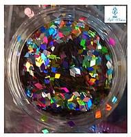 Фольга пленка эффект битого стекла порезанная в пластиковой баночке микс