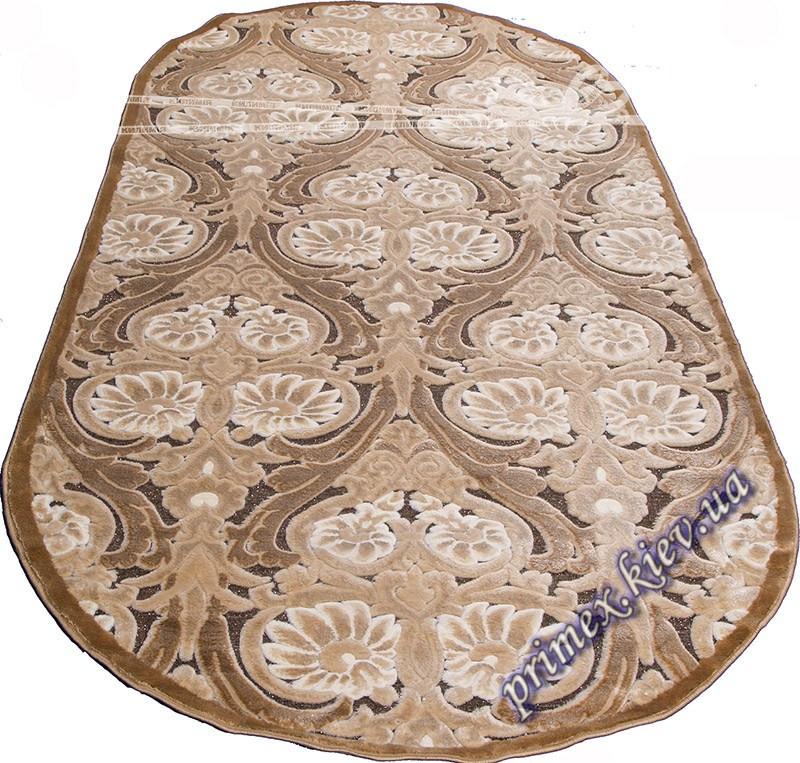 """Акриловый овальный ковер с рельефным рисунком Айс """"Султанат"""", цвет коричневый"""