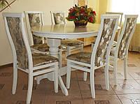 Комплект стол и стулья Меридиан-2 раскладной (Лак белый)