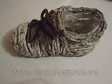 Плетеное кашпо лапоть