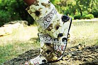 Стильные тканевые сапожки Ромашки с открытым носком. Арт-0569