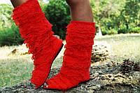 Красные кружевные сапожки с открытым носком. Арт-0570