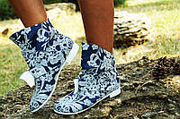 Женские модные джинсовые ботиночки с бантиком. Арт-0571