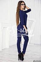 Стильный темно-синий комбинезон с поясом.  Арт-01021/73