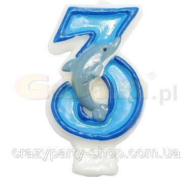 Свеча-цифра Дельфин 3