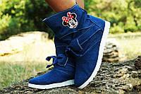 Синие ультрамодные джинсовые женские стильные ботинки Бантик весна/осень. Арт-0129