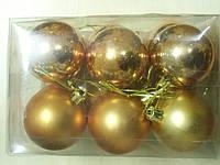 Елочные игрушки шарики, 6шт 6см  , фото 1