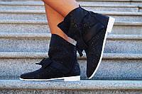 Женские черные стильные кожаные  ботиночки D&G на белой подошве. Арт-0575