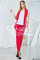 Модный красный костюм жилетка+брюки. Арт-01023/73