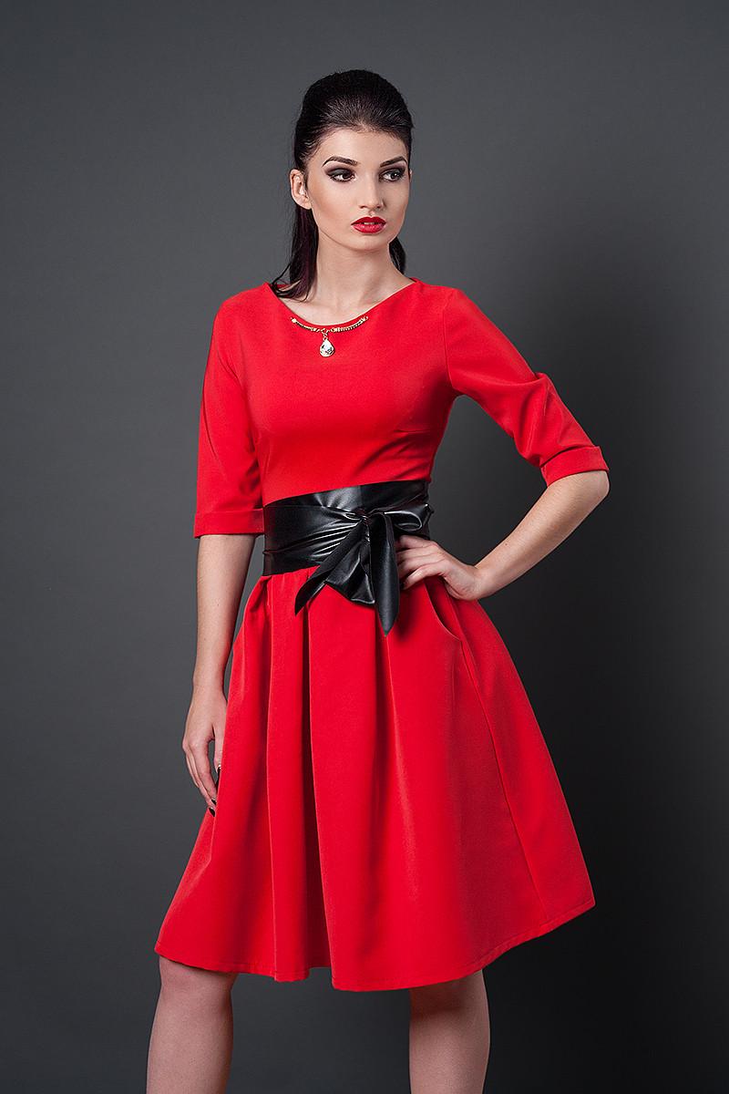 Платье  мод 381-4 размер 46 красное