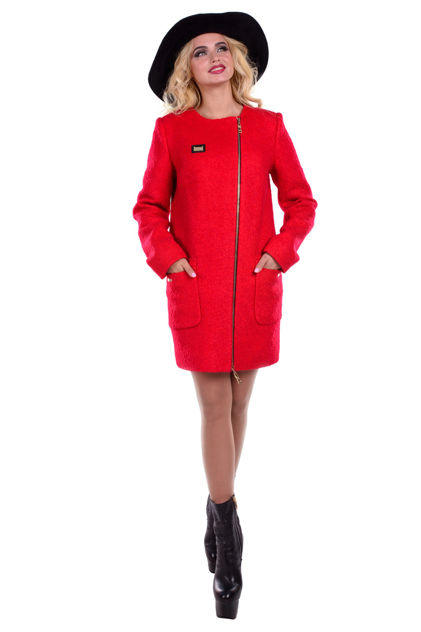 Женское красное демисезонное пальто арт. Милтон букле 6728