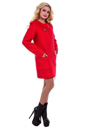 Женское красное демисезонное пальто арт. Милтон букле 6728, фото 2