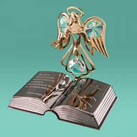 "Фигурка статуэтка с камнями Swarovski ""Ангел и библия"" подарки"