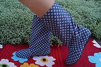 Женские цветные тканевые стильные сапожки. Арт-0581