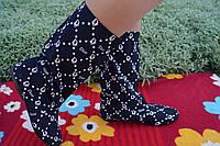 Женские черные тканевые стильные сапожки Dior. Арт-0582