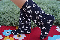 Женские черные тканевые стильные сапожки Котята. Арт-0583