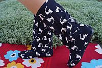 Женские черные тканевые стильные сапожки Котята. Арт-0583, фото 1