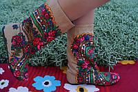 Женские бежевые стильные сапожки платок-матрешка. Арт-0584