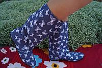 Женские стильные джинсовые сапожки Бабочки. Арт-0586