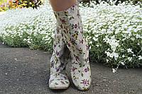Женские стильные льняные цветные сапожки. Арт-0588