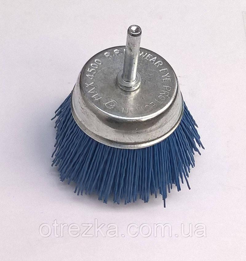 """Щетка абразивная """"Пиранья"""" для дрели 75 мм. синяя р180 торцевая"""
