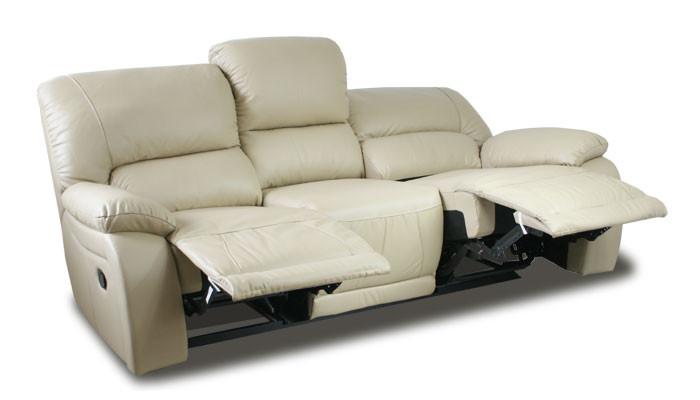 Польский кожаный диван с реклайнером ALASKA. Трехместный