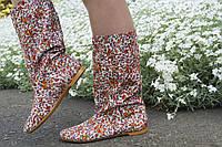 Женские стильные льняные цветные сапожки. Арт-0589
