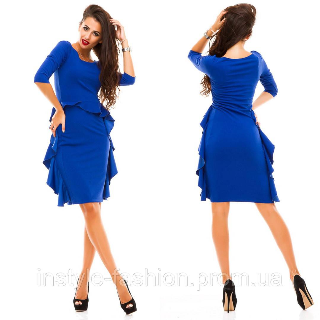 4485f69d5d94b46 Стильное женское платье ткань креп- дайвинг синее: купить недорого ...