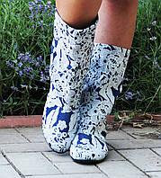 Женские стильные джинсовые синие сапожки с узором. Арт-0592