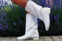 Женские белые полусапожки из прошвы на подкладке. Арт-0593