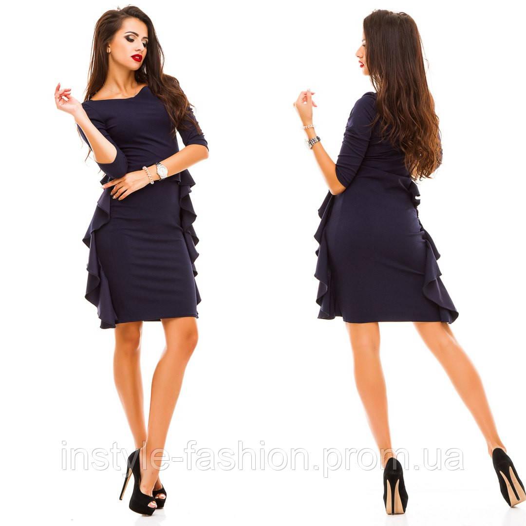 Стильное женское платье ткань креп- дайвинг темно-синее