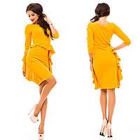 Стильное женское платье ткань креп- дайвинг цвет горчичный
