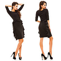 Стильное женское платье ткань креп- дайвинг черное