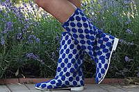 Женские синие полусапожки ажурные на подкладке. Арт-0595