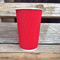 Стакан гофрированный Ripple 500 мл Красный (крышка 90мм), фото 1