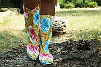 Женские тканевые цветные яркие осенние сапожки. Арт-0598
