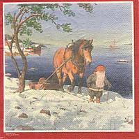 Редкие декупажные салфетки Гном и лошадь