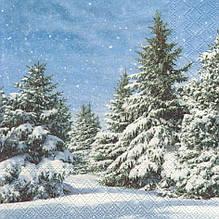 Декупажные салфетки Зимний лес 6108