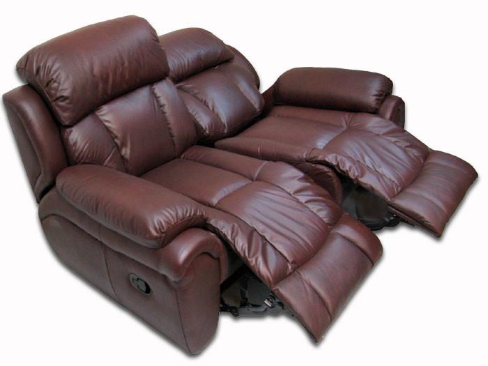 Шкіряний диван реклайнер Boston, диван реклайнер, м'який диван, меблі з шкіри, диван, розкладний диван