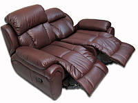 Современный двухместный диван в коже с механизмом реклайнер - BOSTON