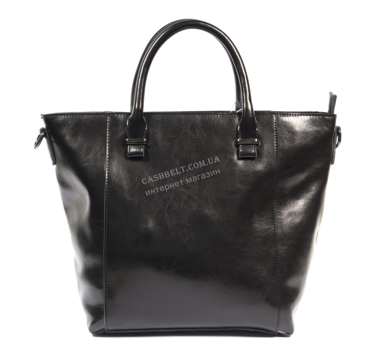Стильная кожаная небольшая женская сумка черного цвета art. 013
