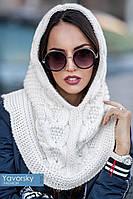 шарф снуд капор крупной  вязки , фото 1