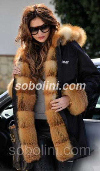 Черная куртка парка с отделкой из отборной лисы