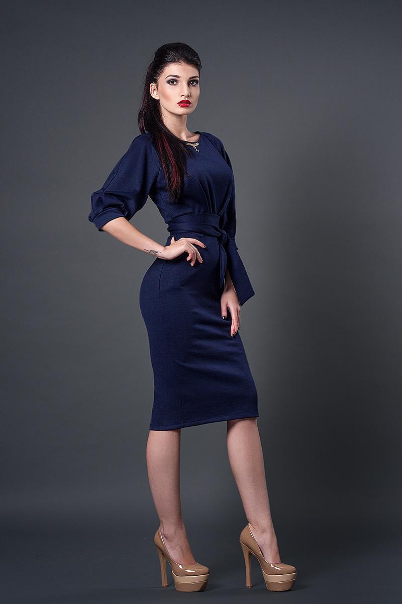 Платье мод №256-2, размеры 44 темно-синий
