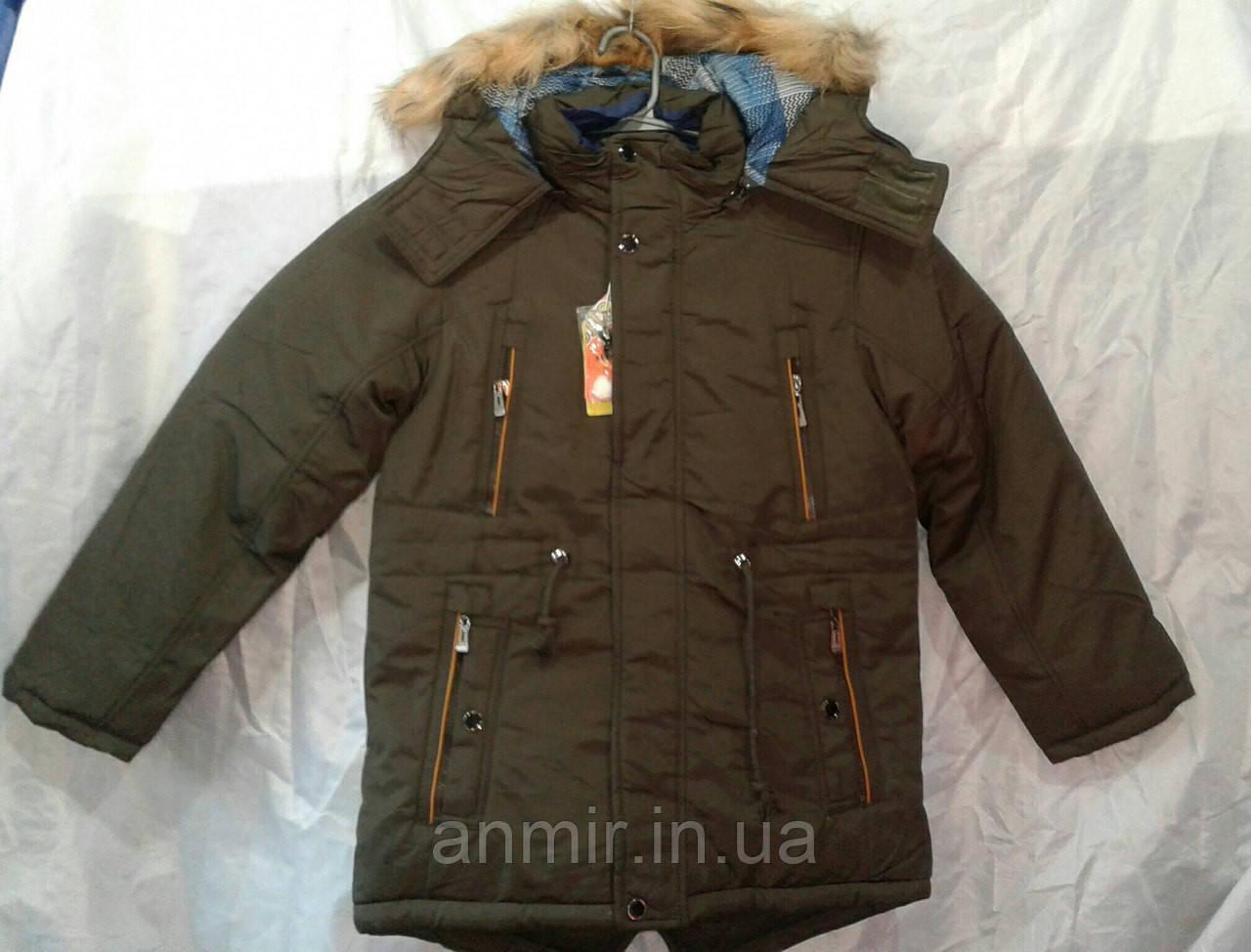 Куртка зимняя парка для мальчика 10-14 лет,коричневая, фото 1