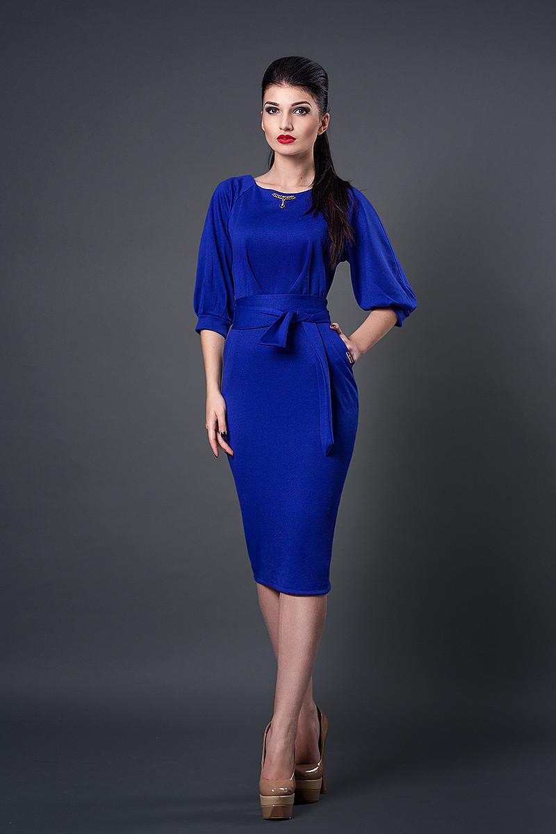 Платье мод №256-3, размеры 44 электрик