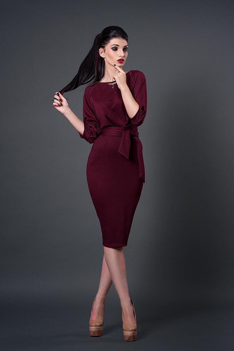 Платье мод №256-4, размеры 44 бордо